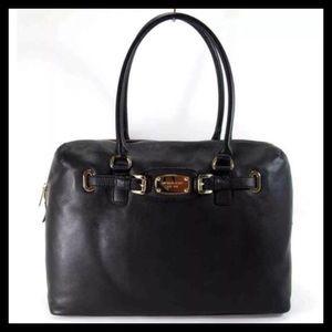 NWOT Michael Kors Hamilton Leather Weekender Black